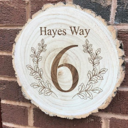 Personalised Log Slice House Number Floral