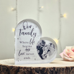 Personalised Family Photo Acrylic Heart Block