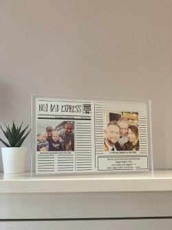 Personalised Newspaper Style Photo Acrylic Large Block
