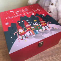 Elf Family Printed Red Christmas Eve Box