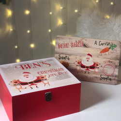 Personalised Red Santa And Reindeer Christmas Eve Box (pre order - November Delivery) - with free Santa Treat Board