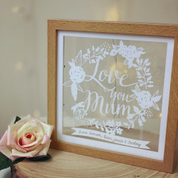 Paper Cut Style Personalised Mum Floral Wreath Frame