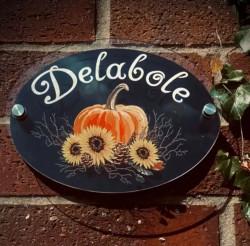 Personalised Autumn Pumpkin & Sunflower House Plaque