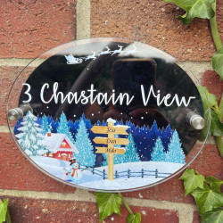 Personalised Blue Ski Alps House Plaque