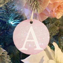 Personalised Blush Initial Christmas Tree Decoration - Set of 2