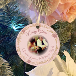 Personalised Remembrance Photo Tree Decoration - Blush Pink -SET of 2