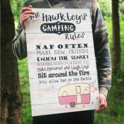 Image of personalised family camping holiday rules sign