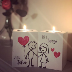Heart Balloon Couple Tealight Holders (Set of 2)