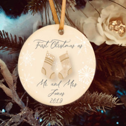 Personalised Champagne Stockings Christmas Tree Decoration - Set of 2