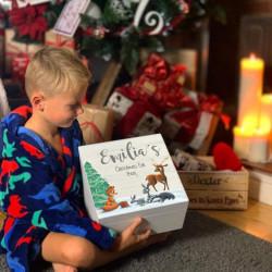 Personalised White Woodland Animal Theme Christmas Eve Box