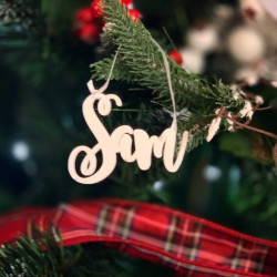 Personalised Name Christmas Tree Decoration Curly - Red And White - Set of 2