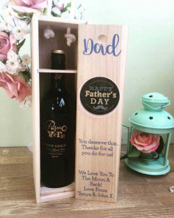 Image of Personalised Wooden Fathers Day Wine Box