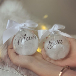 Personalised Feather Baubles - Set of 2