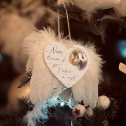 Personalised Hearts Remembrance Feather Wings Christmas Decoration