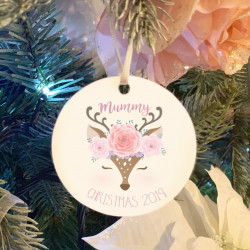 Personalised Blush Deer Christmas Tree Decoration - Set of 2