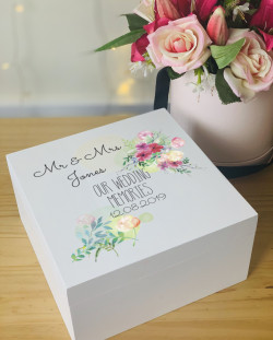 Personalised Wedding Memory Box- Floral and Foliage