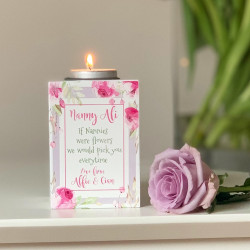 Personalised Floral Tea Light Holder - Grandma