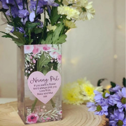 20cm Personalised Pink Heart And Flowers Design Vase * NOT GUARANTEED FOR MOTHERS DAY *
