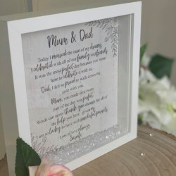 Personalised Wedding Message To Mum and Dad Box Frame