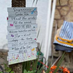 Garden Rules Sign - Bees & Butterfles