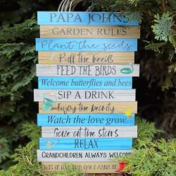 Garden Rules Sign - Blue, Grey & Wood