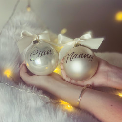 Personalised Gold Baubles - Set of 2
