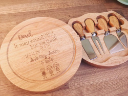 Image of Personalised Circle Wooden Cheese Board with Knives
