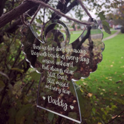 Image of Hanging Mirrored Angel Decoration Personalised