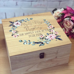 Image of Large Wooden Floral Wreath Memory Box