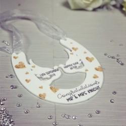 Image of personalised wedding horseshoe plaque