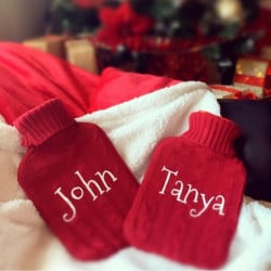 Personalised Red And White Hot Water Bottle
