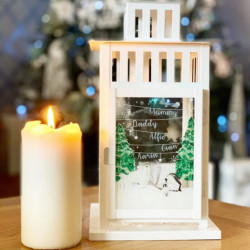 Personalised Wonderland Christmas Lantern White