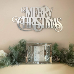 Merry Christmas Mirrored Sign - Icy Silver