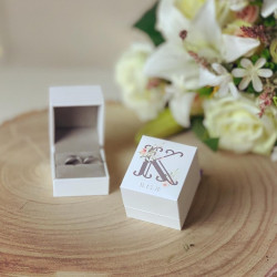Personalised White Ring Box Floral Monogram Design ***NOT GUARANTEED FOR MOTHER'S DAY***