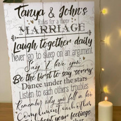 Large Personalised Marriage Rules Sign