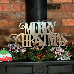Merry Christmas Mirrored Sign - Red & White