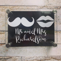 Personalised Moustache And Lips House Plaque