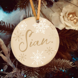 Personalised Champagne Name Christmas Tree Decoration - Set of 2