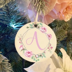 Personalised Floral Blush Initial Christmas Tree Decoration - Set of 2