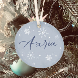 Personalised Icy Blue Name Christmas Tree Decoration - Set of 2