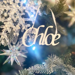Personalised White Name Christmas Tree Decoration - Icy Silver - Set of 2