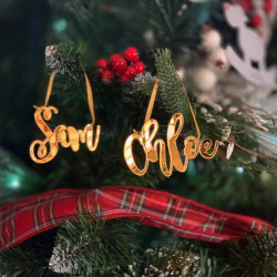 Personalised Gold Mirrored Name Christmas Tree Decoration Curly - Set of 2