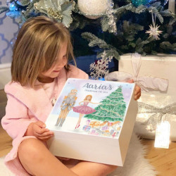 Personalised Hand Drawn and Hand Painted Nutcracker White Christmas Eve Box