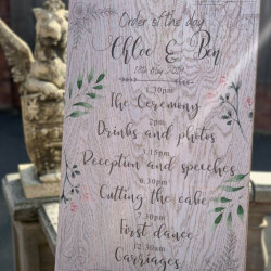 Personalised Ornate Floral Wedding Order Of The Day Sign