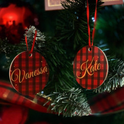 Personalised Tartan Name Christmas Tree Decoration - Set of 2