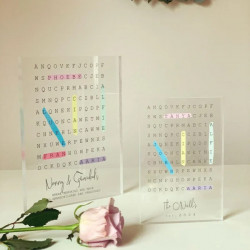 Personalised Family Word Search Acrylic Block