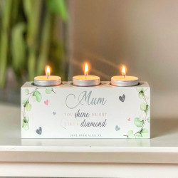 Personalised Green Foliage Triple Tea Light Holder