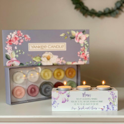 Personalised Lavender Triple Tea Light Holder & Yankee Candle Tea Lights