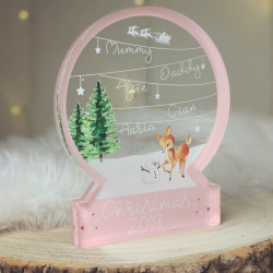 Personalised Deer & Snowman Snowglobe Style Themed Ornament