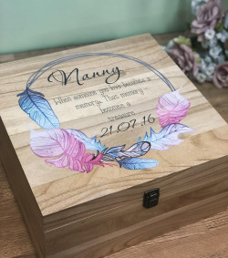 Image of Large Personalised Memory Box with Pink Feathers